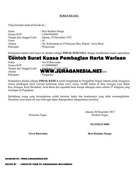 contoh surat kuasa pembagian harta warisan juraganesia
