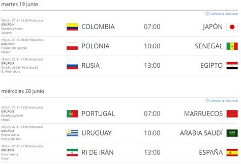 Eliminatorias Rusia 2018 Colombia Calendario Y Horarios Calendario Mundial 2018 Colombia