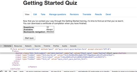bootstrap templates for quiz quot start quiz quot button does not do anything when bootstrap