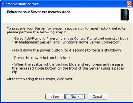 resetting hp mediasmart server hp mediasmart server using server recovery and factory