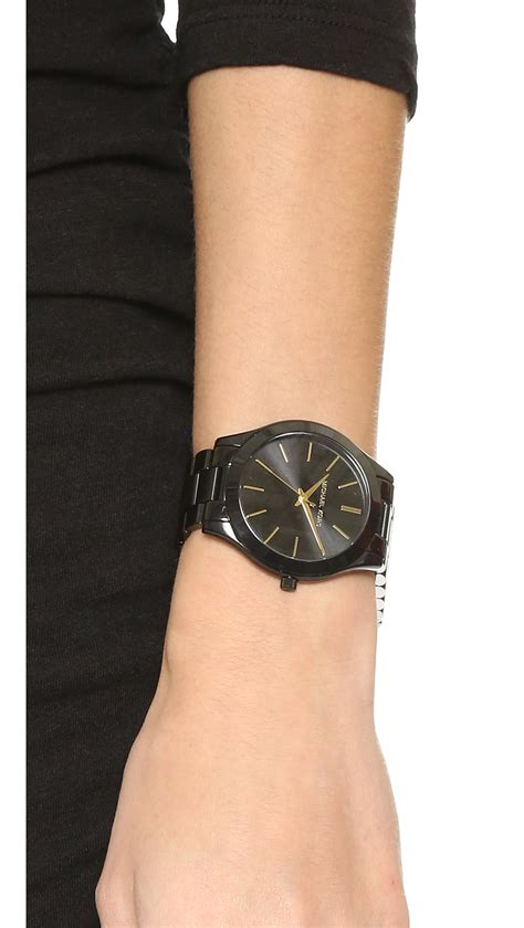 Michael kors Slim Runway Watch in Black   Lyst