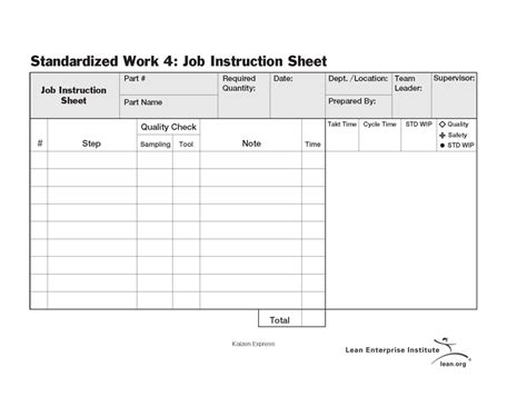 standardized work job instruction sheet lean enterprise