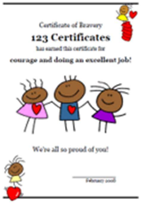 bravery certificate template free printable bravery certificates