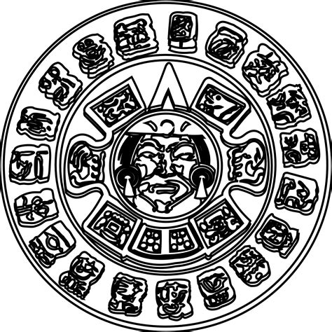 Free Aztec Art Coloring Pages Aztec Calendar Coloring Page