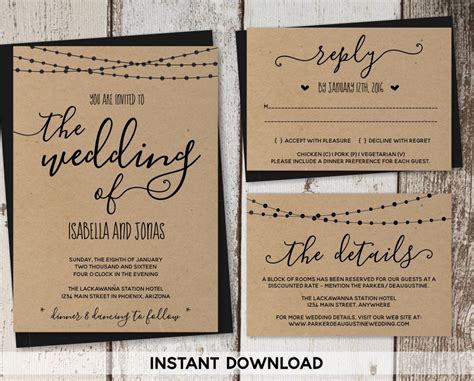 wedding invitation template rustic wedding printable wedding invitation template rustic printable set