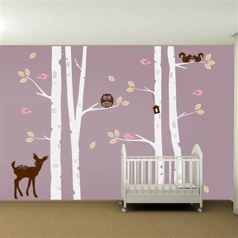 Tree Nursery Wall Decal Nursery Birch Tree Wall Decal Set Owl Deer Fawn Birds