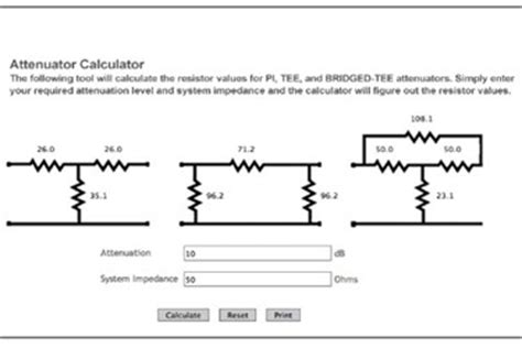 resistor values for attenuator new calculator determines resistor values for pi and bridged attenuators