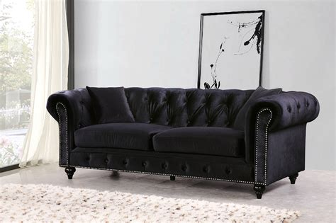 black velvet tufted sofa kristopher chesterfield modern black velvet button tufted sofa