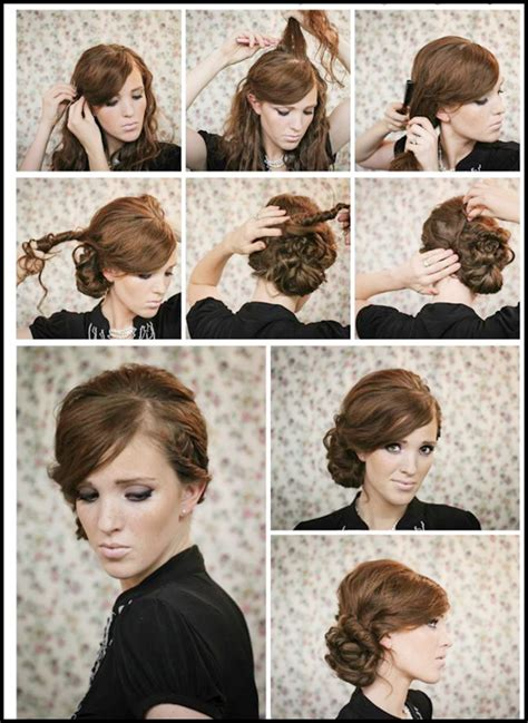 hairstyles that are twisted on one side and curly on the other twisted side bun updo hairstyles tutorial hair twists