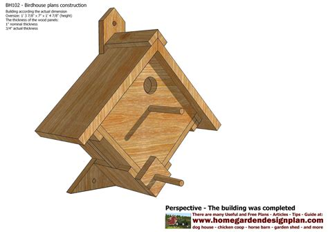 Bird Houses Plans by Mina Bh102 Bird House Plans Construction Bird House