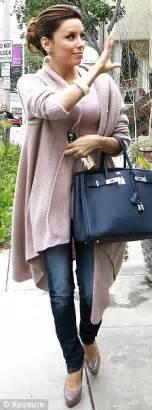 Debra Messings Birkin Handbag by Longoria Steps Out In An Oversized Wrap Cardigan As