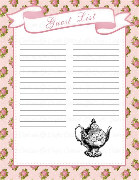 Guest List For Baby Shower by Baby Shower Guest List Printable Baby Shower