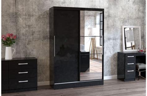 Black Sliding Door Wardrobe by Birlea Lynx Black With Black Gloss Sliding Door Wardrobe