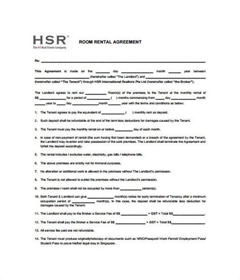 room rental agreement template rental agreements 11 free word pdf documents