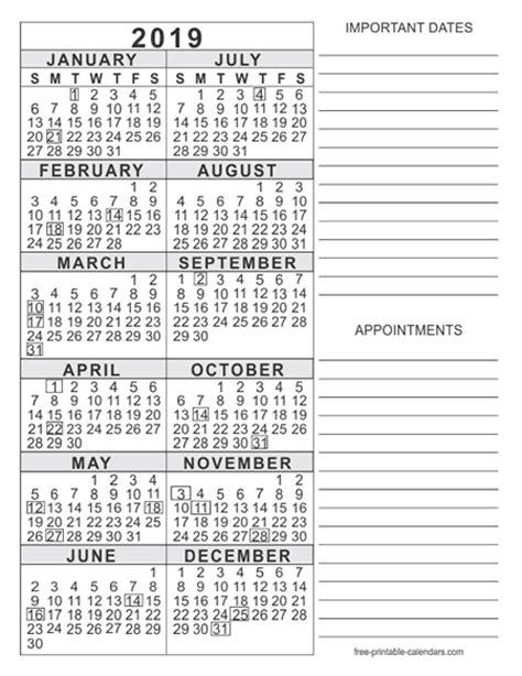 printable yearly calendar 2019 2019 calendar templates free printable calendars
