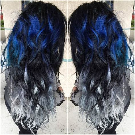 black hair with gray blue hair colors ideas 25 best ideas about awesome hair color on pinterest