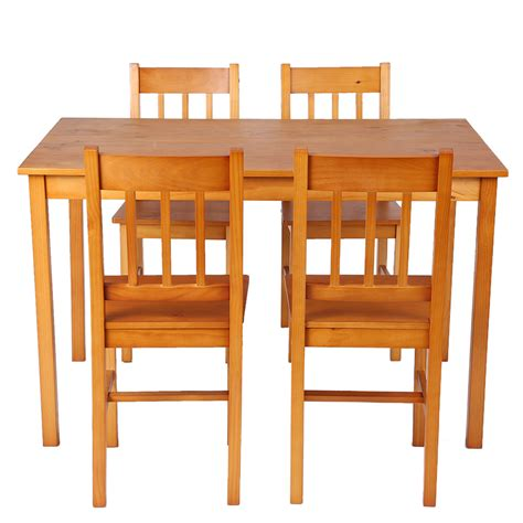 Light Wood Kitchen Table Light Brown Ikayaa Modern 5pcs Wood Kitchen Dining Table Chairs Set Lovdock