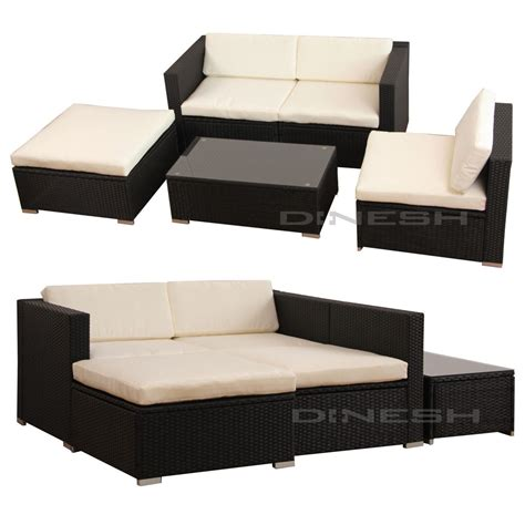 sofa polyrattan hawaii poly rattan lounge schwarz gartenset sofa garnitur