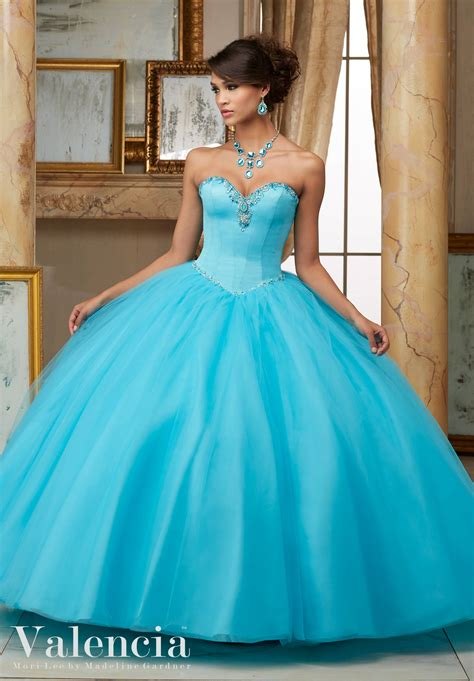 Dress Valencia Blue tulle gown quinceanera dress style 60005 morilee