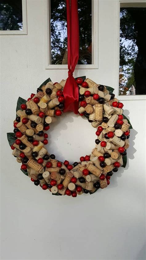 cranberry wine cork wreath 12 14