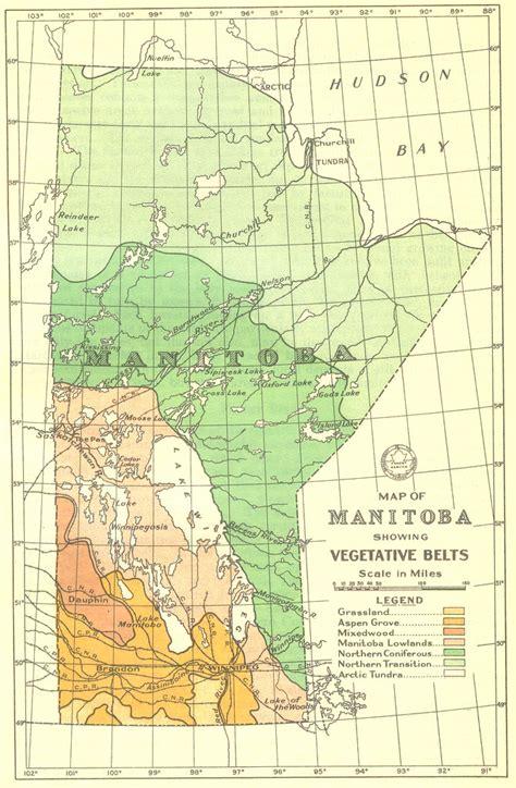 map  manitoba showing vegetative belts  robert