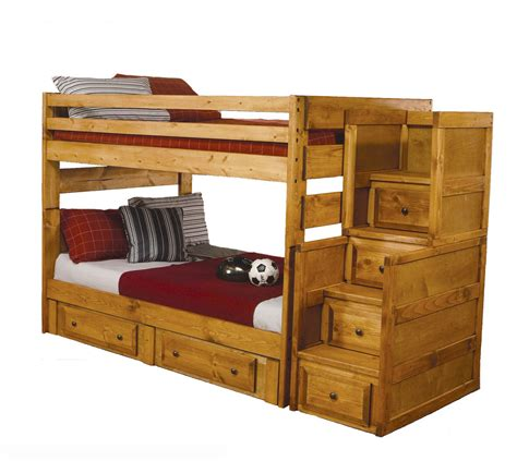 bunk beds with steps solid wood amber wash oak stairs chest 2 storage drawer
