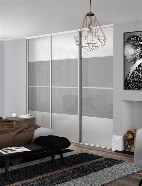 Wardrobe Closet Sliding Door Classic 4 Panel Sliding Wardrobe Doors In White And Light Grey Glass With Silver Frame