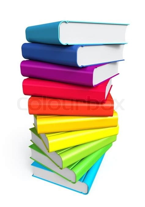 color stack stack of color books on white background stock photo