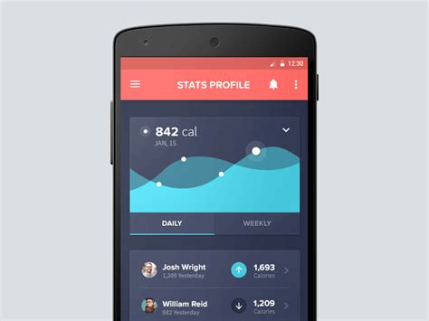 health app for android 10 material design concepts of captivating data visualization