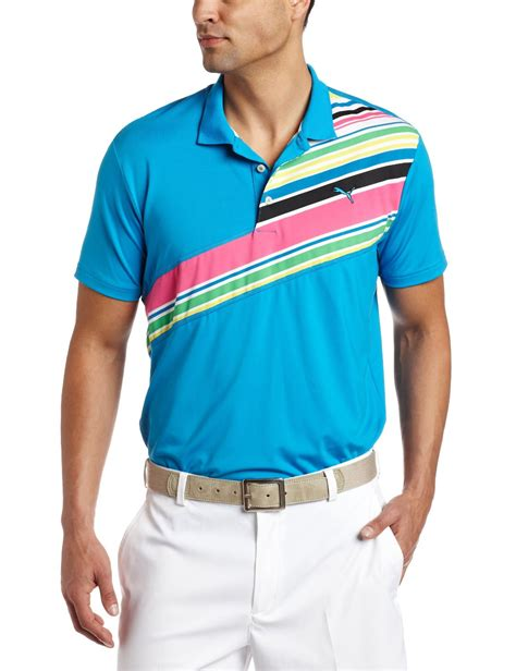 mens stripe tech sleeve golf polo shirt