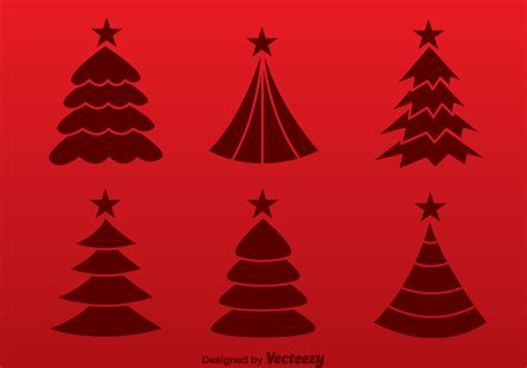christmas tree red silhouette vectors download free