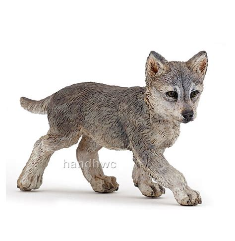 Papo Grey Wolf papo 50162 gray wolf cub pup grey wolferin model figurine