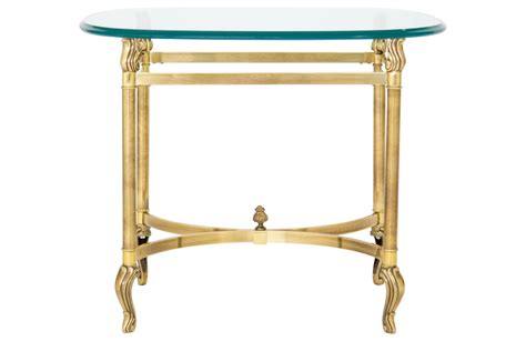glass and brass end tables brass and glass side table janney s collection