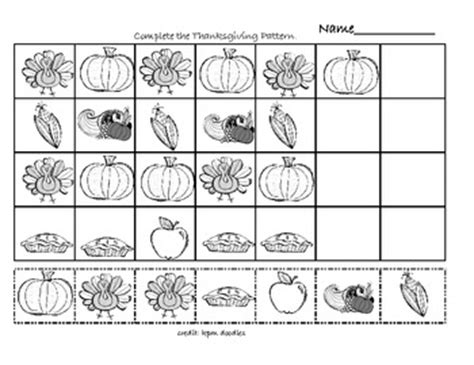 thanksgiving pattern worksheets kindergarten thanksgiving math patterns by susie teachers pay teachers