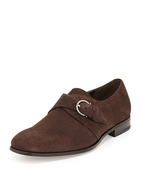 light brown monk shoes salvatore ferragamo suede single monk shoe light brown
