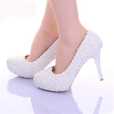 comfortable wedding dress shoes aliexpress com buy white lace flower formal dress shoes