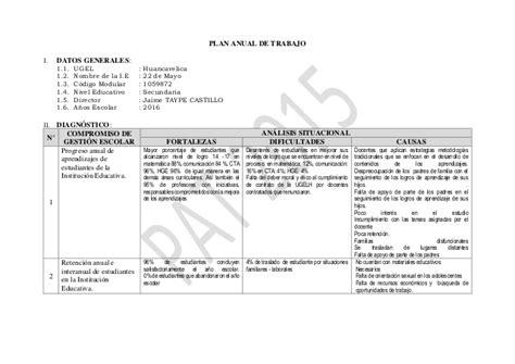 Plan Anual De Cta 2 Perueduca | plan de trabajo cta secundaria 2016 plan anual de trabajo