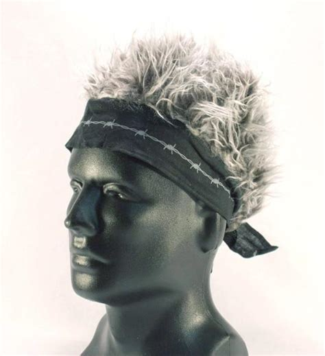 spiked grey hair hat bandana hat with spiked up black gray hair cap mens