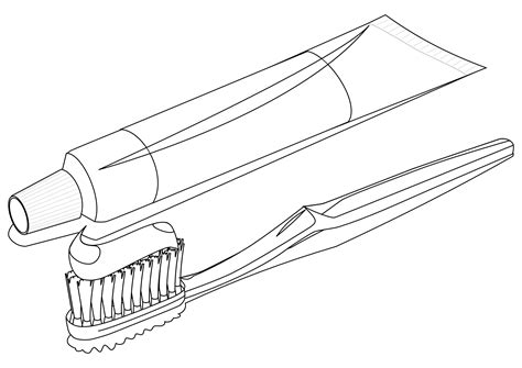 187 Food Toothbrush With Toothpaste 2 Toothbrush 3 Black Toothbrush Coloring Page