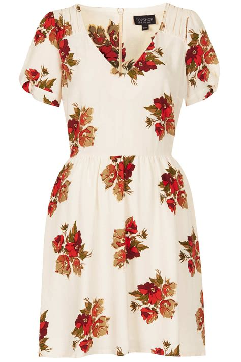 Topshop Dress Autumn by Topshop Autumn Floral Tea Dress In White Lyst