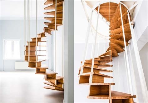 olmo spiral staircase with clever storage system homecrux