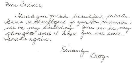 thank you letter after typed or handwritten sles the handwritten card