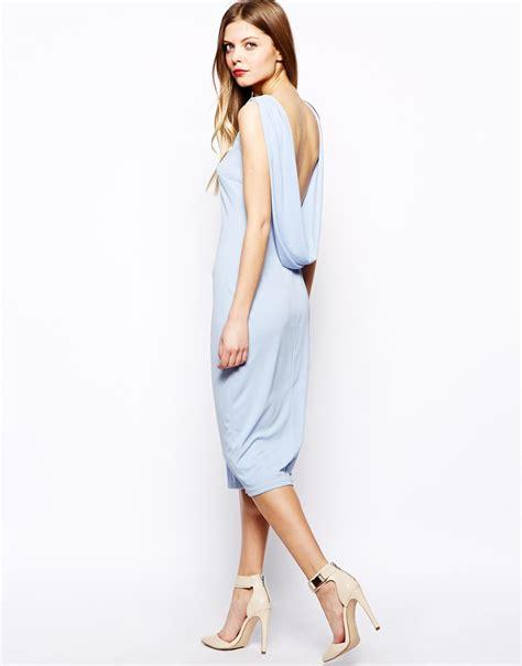 Dress Black Pink Blue Ss D 13 lyst asos drape back midi dress in blue