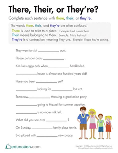 There Their And They Re Worksheets by There Their Or They Re Worksheet Education