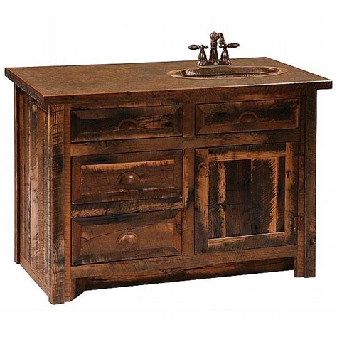 Barnwood Bathroom Vanity Rustic Barnwood 3 Foot Vanity With Barnwood Legs Sink Right Reclaimed Furniture Design Ideas
