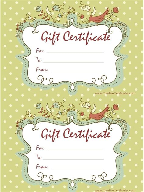 gift certificates free gift certificate template customizable