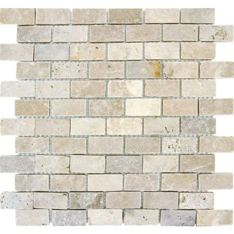 home depot kitchen backsplash tiles ms international chiaro brick 12 in x 12 in x 10 mm tumbled travertine mesh mounted mosaic