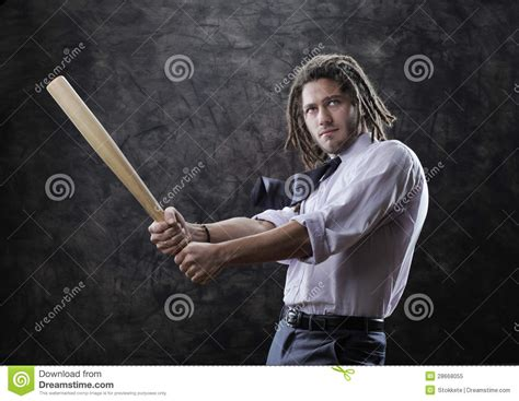 swinging baseball bat businessman swinging baseball bat royalty free stock photo