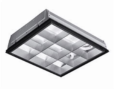 parabolic 2x2 grid light fixture operating four f17t8