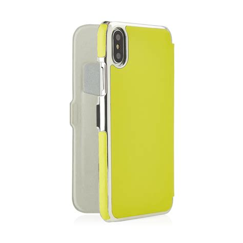 iphone  pistachio yellow leather slim wallet case magnetic   card slot pistachio yellow